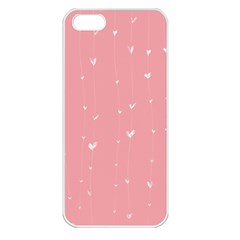 Pink background with white hearts on lines Apple iPhone 5 Seamless Case (White)