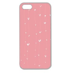 Pink background with white hearts on lines Apple Seamless iPhone 5 Case (Clear)