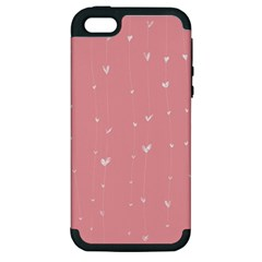 Pink background with white hearts on lines Apple iPhone 5 Hardshell Case (PC+Silicone)
