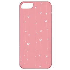 Pink background with white hearts on lines Apple iPhone 5 Classic Hardshell Case