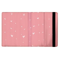 Pink background with white hearts on lines Apple iPad 2 Flip Case