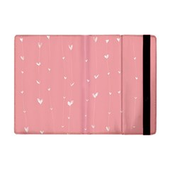 Pink background with white hearts on lines Apple iPad Mini Flip Case