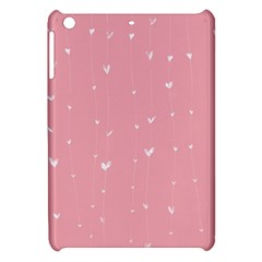 Pink background with white hearts on lines Apple iPad Mini Hardshell Case