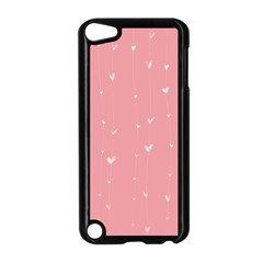 Pink background with white hearts on lines Apple iPod Touch 5 Case (Black)