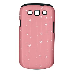 Pink background with white hearts on lines Samsung Galaxy S III Classic Hardshell Case (PC+Silicone)