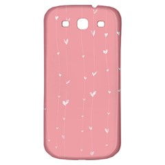 Pink background with white hearts on lines Samsung Galaxy S3 S III Classic Hardshell Back Case