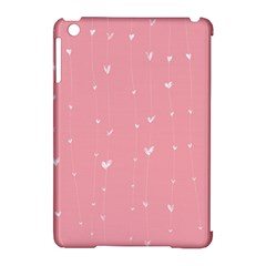 Pink background with white hearts on lines Apple iPad Mini Hardshell Case (Compatible with Smart Cover)