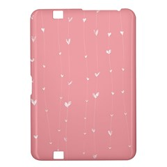 Pink background with white hearts on lines Kindle Fire HD 8.9