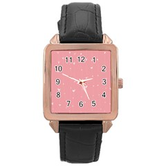 Pink background with white hearts on lines Rose Gold Leather Watch