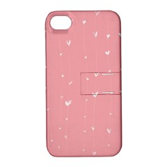 Pink background with white hearts on lines Apple iPhone 4/4S Hardshell Case with Stand