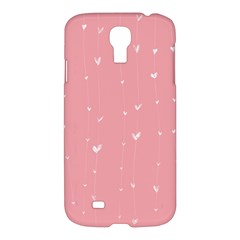 Pink background with white hearts on lines Samsung Galaxy S4 I9500/I9505 Hardshell Case