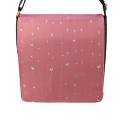 Pink background with white hearts on lines Flap Messenger Bag (L)