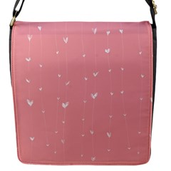 Pink background with white hearts on lines Flap Messenger Bag (S)