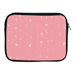 Pink background with white hearts on lines Apple iPad 2/3/4 Zipper Cases