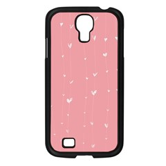 Pink background with white hearts on lines Samsung Galaxy S4 I9500/ I9505 Case (Black)
