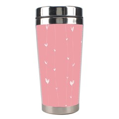 Pink background with white hearts on lines Stainless Steel Travel Tumblers