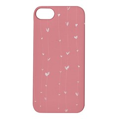 Pink background with white hearts on lines Apple iPhone 5S/ SE Hardshell Case