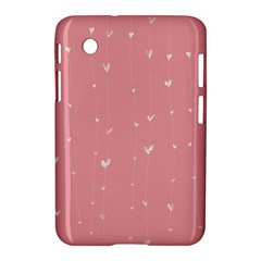 Pink background with white hearts on lines Samsung Galaxy Tab 2 (7 ) P3100 Hardshell Case