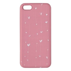 Pink background with white hearts on lines iPhone 5S/ SE Premium Hardshell Case
