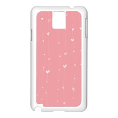 Pink background with white hearts on lines Samsung Galaxy Note 3 N9005 Case (White)