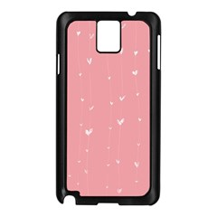 Pink background with white hearts on lines Samsung Galaxy Note 3 N9005 Case (Black)