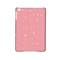 Pink background with white hearts on lines iPad Mini 2 Hardshell Cases