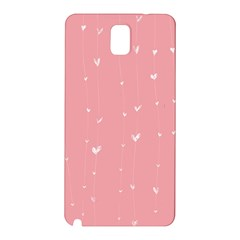 Pink background with white hearts on lines Samsung Galaxy Note 3 N9005 Hardshell Back Case