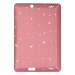 Pink background with white hearts on lines Amazon Kindle Fire HD (2013) Hardshell Case