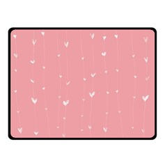 Pink background with white hearts on lines Double Sided Fleece Blanket (Small)