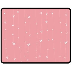 Pink background with white hearts on lines Double Sided Fleece Blanket (Medium)