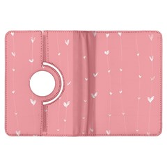 Pink background with white hearts on lines Kindle Fire HDX Flip 360 Case