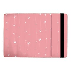 Pink background with white hearts on lines Samsung Galaxy Tab Pro 10.1  Flip Case