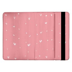 Pink background with white hearts on lines Samsung Galaxy Tab Pro 12.2  Flip Case