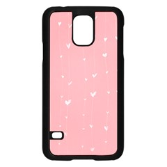 Pink background with white hearts on lines Samsung Galaxy S5 Case (Black)
