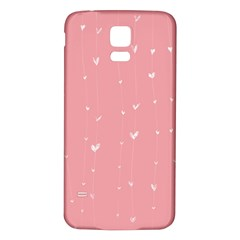 Pink background with white hearts on lines Samsung Galaxy S5 Back Case (White)