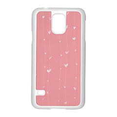 Pink background with white hearts on lines Samsung Galaxy S5 Case (White)