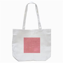 Pink background with white hearts on lines Tote Bag (White)