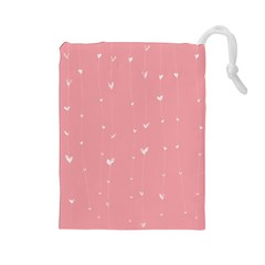 Pink background with white hearts on lines Drawstring Pouches (Large)
