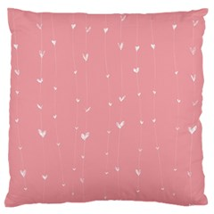 Pink background with white hearts on lines Large Flano Cushion Case (One Side)
