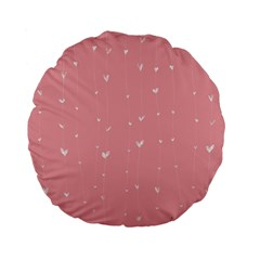 Pink background with white hearts on lines Standard 15  Premium Flano Round Cushions