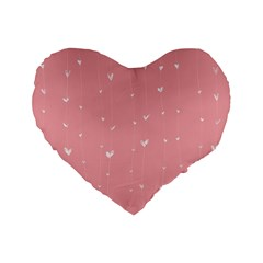 Pink background with white hearts on lines Standard 16  Premium Flano Heart Shape Cushions