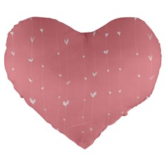 Pink background with white hearts on lines Large 19  Premium Flano Heart Shape Cushions