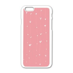 Pink background with white hearts on lines Apple iPhone 6/6S White Enamel Case