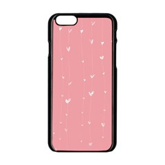 Pink background with white hearts on lines Apple iPhone 6/6S Black Enamel Case
