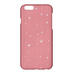 Pink background with white hearts on lines Apple iPhone 6 Plus/6S Plus Hardshell Case