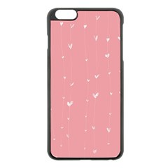 Pink background with white hearts on lines Apple iPhone 6 Plus/6S Plus Black Enamel Case