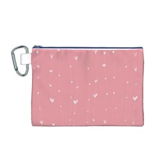 Pink background with white hearts on lines Canvas Cosmetic Bag (M)