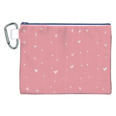 Pink background with white hearts on lines Canvas Cosmetic Bag (XXL)