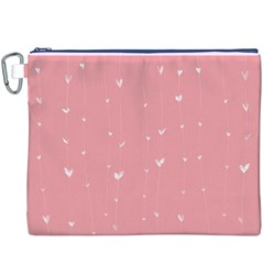 Pink background with white hearts on lines Canvas Cosmetic Bag (XXXL)