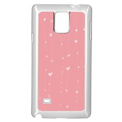 Pink background with white hearts on lines Samsung Galaxy Note 4 Case (White)